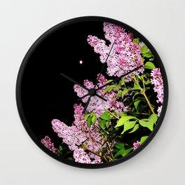 Lilacs at Night Wall Clock