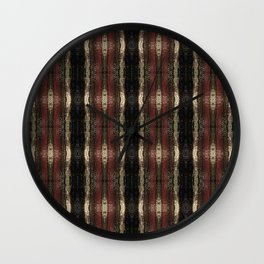 Bold Red Black and Gold Pattern Textured Stripe Print Wall Clock