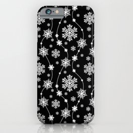 Festive Black and White Snowflake Pattern iPhone Case