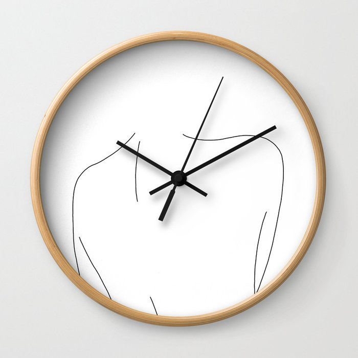 Nude back line drawing illustration - Drew Wall Clock