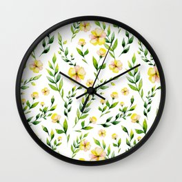 Modern hand painted yellow green watercolor spring flowers Wall Clock