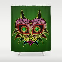 majoras mask Shower Curtains featuring Sugarskull / Majoras mask /color by tshirtsz