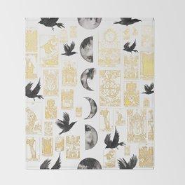 Pagan Themed Print - Tarot Cards, Moon Cycle, Ravens Throw Blanket