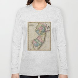 Vintage Map of New Jersey (1823) Long Sleeve T-shirt