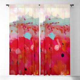 red poppies field abstract Blackout Curtain