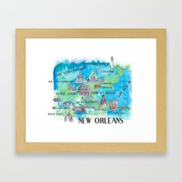 New Orleans Louisiana Favorite Travel Map with Touristic Highlights in colorful retro print Framed Art Print