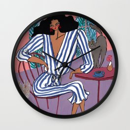 Sunday Table  – Original Fashion art, Fashion Illustration, Fashion wall art Wall Clock