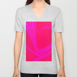 Pink Heart w/Pink Zigzag Lines Unisex V-Neck