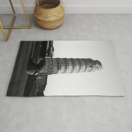 Leaning Tower of Pisa, Italy Black and White Photographic Art Print Rug