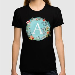 Personalized Monogram Initial Letter A Blue Watercolor Flower Wreath Artwork T-shirt