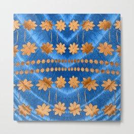 Blue Copper Silk Floral Metal Print
