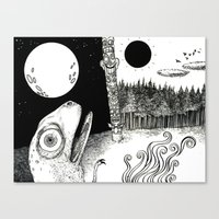 sun and moon Canvas Prints featuring Moon/Sun by C.M. Duffy