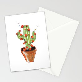 Cactus blooming with pumpkins, original copic drawing Stationery Cards