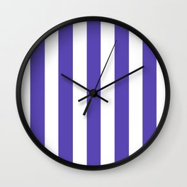 Plump Purple - solid color - white vertical lines pattern Wall Clock