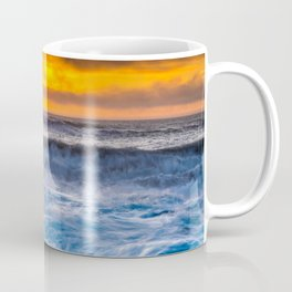 Waves Pound the Beach at Sunset Coffee Mug