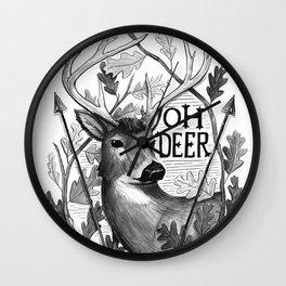 Oh Deer B&W Wall Clock
