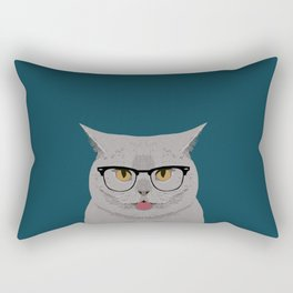 Kai - British shorthair cat gifts for cat lovers, cat lady gifts Cat people gifts, Hipster Glasses Rectangular Pillow