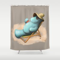 manatee Shower Curtains featuring Manatee  by Jamie Bechtel