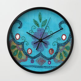Kantha Fabric Art On Turquoise Pure Silk Wall Clock