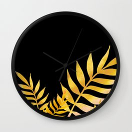 Golden watercolor leaves 2 Wall Clock