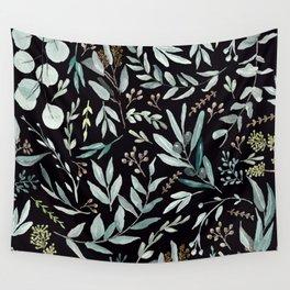 Black Eucalyptus Pattern Wall Tapestry