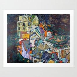 Egon Schiele - Edge of Town (Krumau Town Crescent III) 1918 Art Print