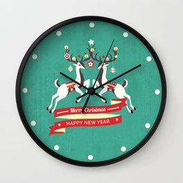 Christmas Deers with baubles Wall Clock