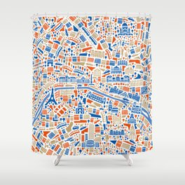 Paris City Map Poster Shower Curtain