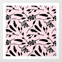 Hand painted black blush pink abstract floral Art Print