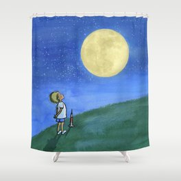 Little Boy and The Man in the Moon Shower Curtain