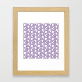 White Skull Pattern with Lavender Background Framed Art Print