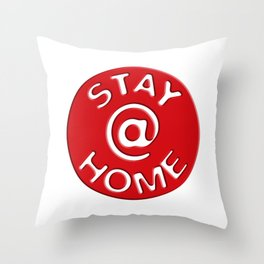 Stay @ Home Button - Red Dot Works Throw Pillow