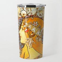 La Plume Zodiac - Alphonse Mucha Travel Mug