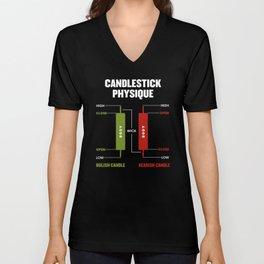 Candlestick Physique Stock Market Day Trader Investor Gift Unisex V-Neck