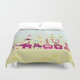 colorful circus carnival traveling in one row during daylight Duvet Cover