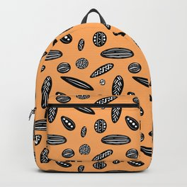 Many Autumn Plant Seeds Pattern in Orange Backpack
