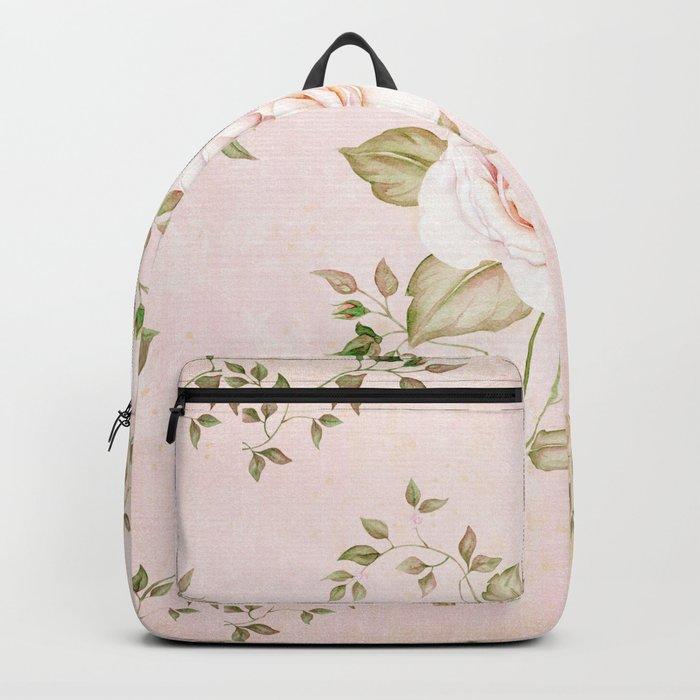 Vintage & Shabby -  floral roses flowers - Rose and Flower Backpack
