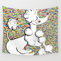poodle Wall Tapestries featuring White Poodle by EloiseArt