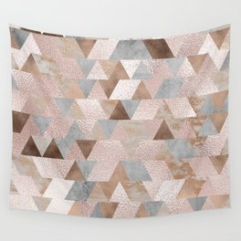 Copper and Blush Rose Gold Marble Triangles Wall Tapestry