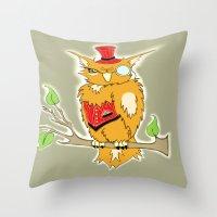 steam punk Throw Pillows featuring Steam Punk Owl by J&C Creations