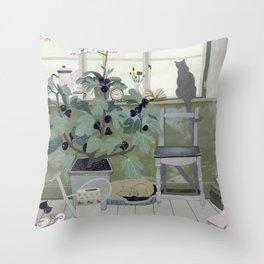 Indoor Garden With Fig Tree Throw Pillow