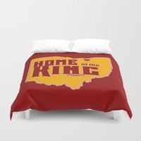 lebron Duvet Covers featuring Home of the King (Red) by Denise Zavagno