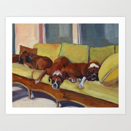 Boxer Dog Siesta Art Print