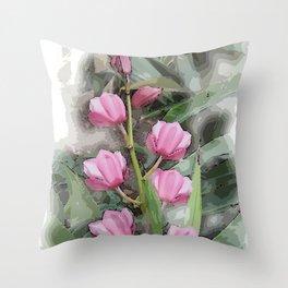 Cymbidium Chili Pepper Orchids Throw Pillow