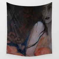 lucy Wall Tapestries featuring broken hearts for lucy by abstractgallery
