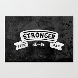 Stronger Every Day (dumbbell, black & white) Canvas Print