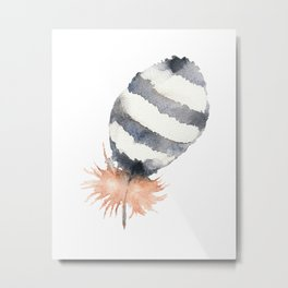 Striped Feather of a Little Owl. Watercolor Metal Print