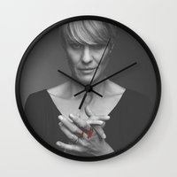 house of cards Wall Clocks featuring Claire Underwood / House of Cards by Earl of Grey