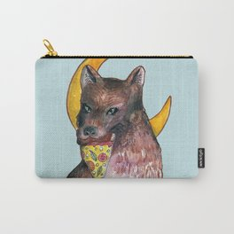 wolf eating pizza in the moon Carry-All Pouch