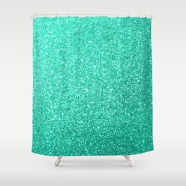 Aquamarine Aqua Blue Sparkly Glitter Shower Curtain